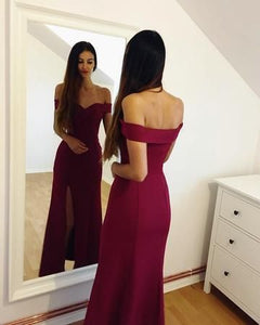 F0144 Burgundy Mermaid Off the Shoulder Long Evening Dresses,2018 Slit Prom Gowns,Sheath Prom Dresses