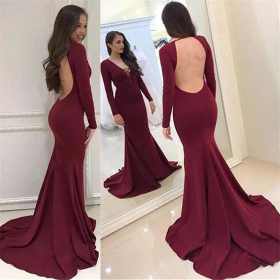 F0145 formal backless long sleeves mermaid burgundy long prom dress,