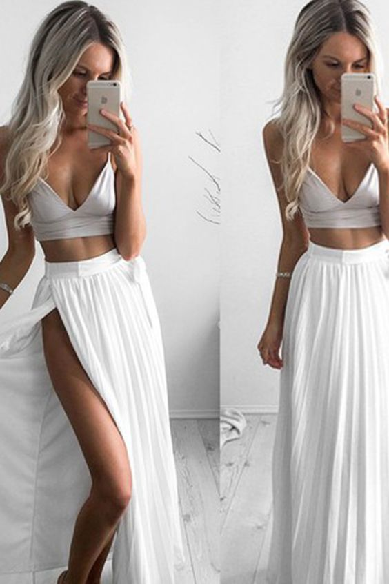 F0150 chiffon prom dress, two pieces prom dress, simple white chiffon long prom dress with slit