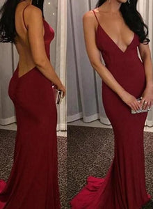 F0151 Deep V-neckline Backless Sexy Party Dresses 2018, Formal Gowns, Prom Dresses 2018,