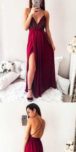 F0157 Simple Open Back Sexy Formal A Line Cheap Long Prom Dresses,