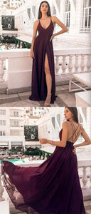 F0158 Maxi dress,chiffon prom dress,burgundy party dress