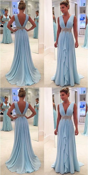 F0173 New Arrival Light Blue Chiffon Prom Dresses Deep V Neck Off The Shoulder Evening Gowns,High Low Long Prom Dress With Beaded Waist,Women Party Gowns