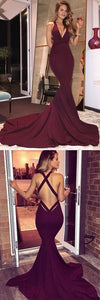 F0175 Burgundy Satin Criss Cross Straps Court Train Mermaid Deep V-Neck Prom Dress