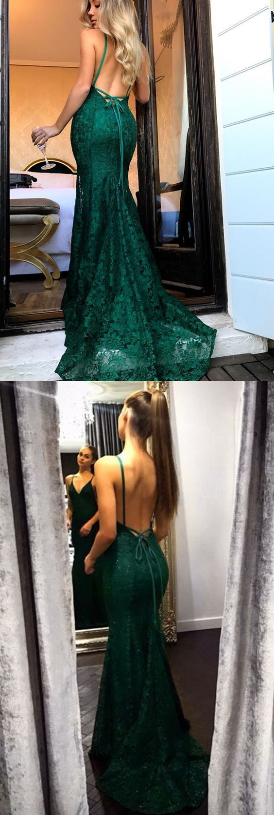 F0176 Sexy Backless Mermaid Evening Dress, Fashionable Spaghetti Straps Lace Long Prom Dress