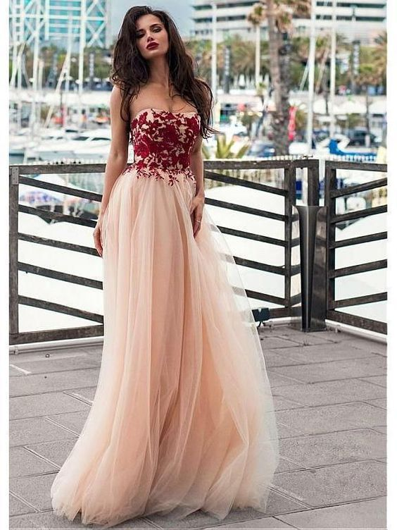 F0179 Strapless Blush Prom Dresses Lace Appliqued Tulle Formal Evening