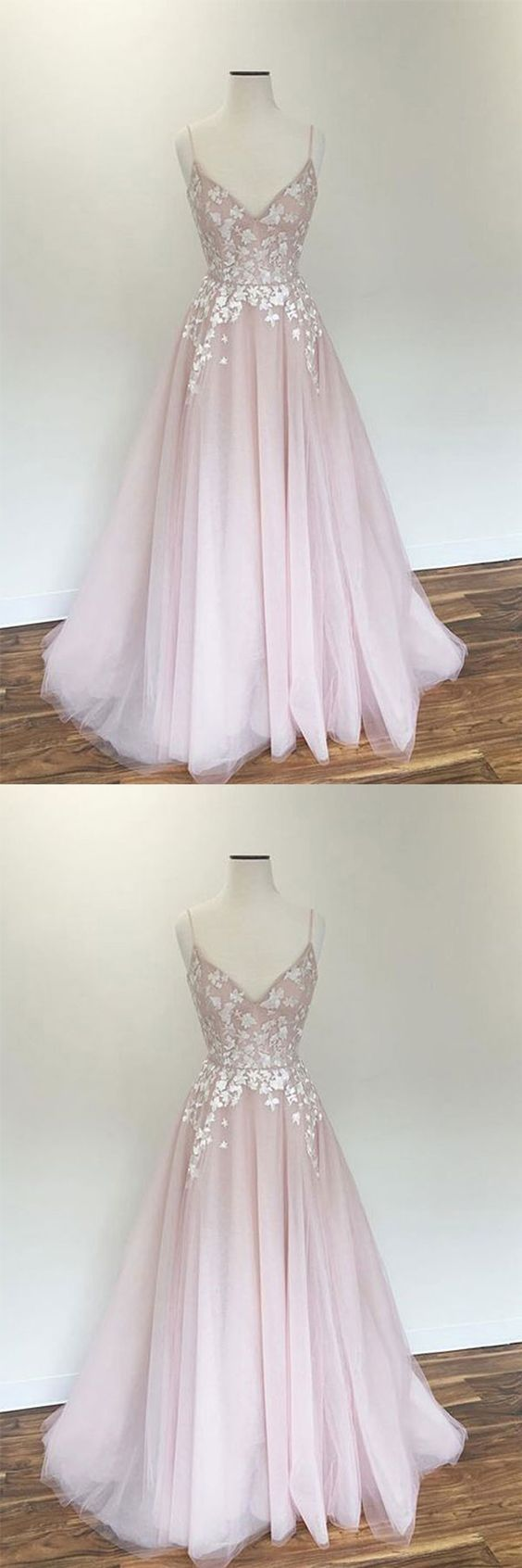 F0180 Light pink v neck tulle applique long prom dress, pink evening dress