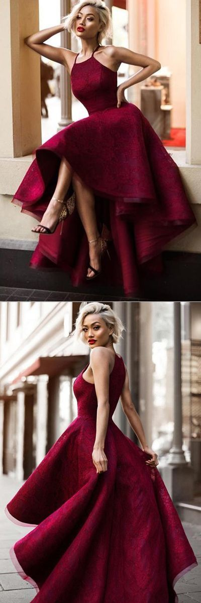 F0181 Burgundy A Line Asymmetrical Halter Sleeveless Long Prom Dress
