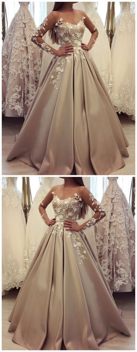 F0182 Generous long sleeve ball gown champagne prom dresses, luxury lace wedding dress for bridal