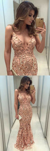 F0182 Memraid Deep V-Neck Sweep Train Blush Lace Prom Dress with Appliques