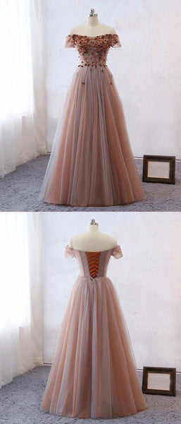 F0186 A-Line Off Shoulder Tulle Appliqued Long Prom Dresses