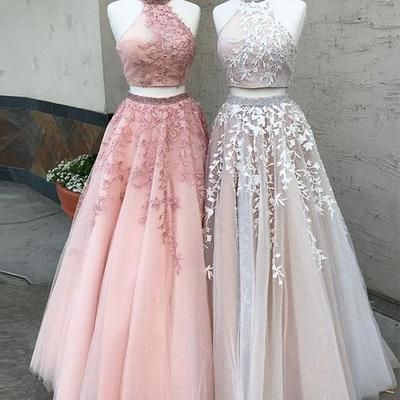 F0188 Sexy Two-Piece High Neck Tulle Long Prom Dress with Appliques Cheap Evening Dress