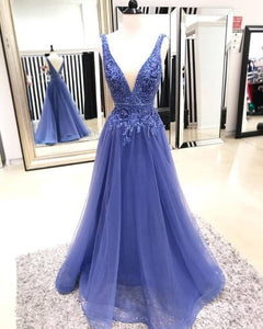 F0190 Violet Blue Curved Plunging V-neck Beaded Tulle A-line Long Prom Dress,Homecoming Dress