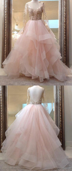 F0191 Unique champagne pink tulle lace long prom dress, pink evening dress