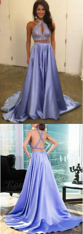 F0193 Two Piece Halter Keyhole Beaded Satin A Line Elegant Lavender Long Prom Dress