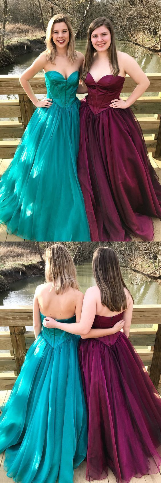 F0194 Sweetheart Princess Green/Burgundy Long Prom Dress