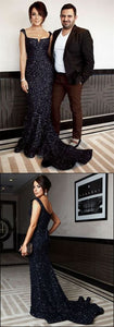 F0199 Mermaid Black Sequin Prom Dresses With Trailing,Cheap Prom Dresses