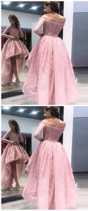 F0200 Fashion A-Line Off the Shoulder High Low Long Sleeves Pink Lace Prom Dress