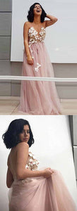 F0201 Elegant A-Line Spaghetti Straps Long Pearl Pink Appliques V Neck Backless Prom Dresses