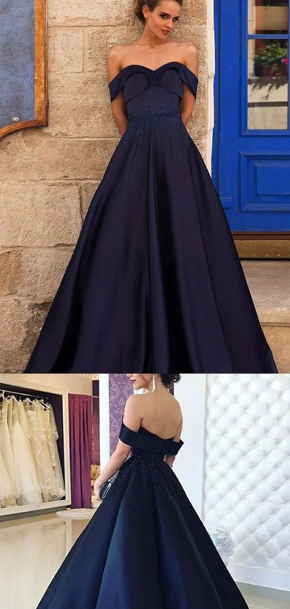 F0206 Navy Off Shoulder A-line Beaded Prom Dresses