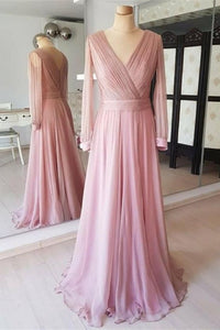F0209 Pretty Flowy Long Elegant Simple Cheap Chiffon Prom Dresses With Sleeves
