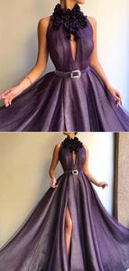 F0211 Mermaid Long A-line Shiny Purple Prom Dresses, Formal Dresses