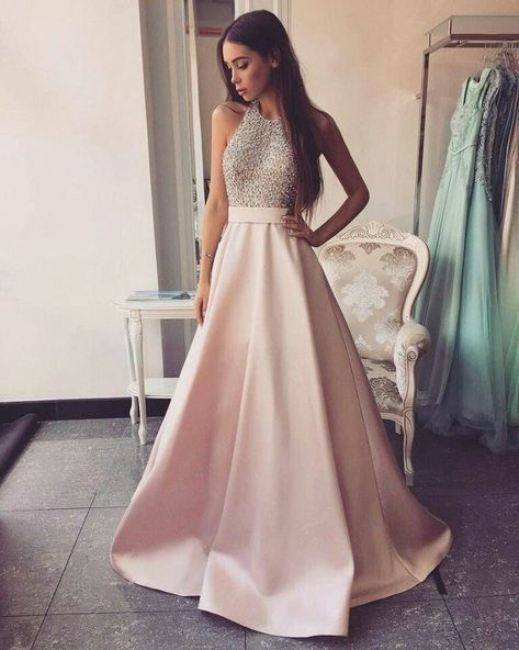F0215 High Neck Long A-line Pink Prom Dresses Beading Open Back Satin Prom Dresses,Modest Evening Dresses,Party Prom Dresses,Pretty Prom Gowns