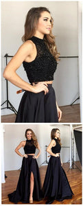 F0217 2 pieces prom dress beaded homecoming dress sleeveless a-line long evening dress with high slit