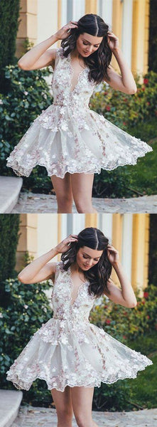 F0222 beautiful v-neck flower appliques white short homecoming dress