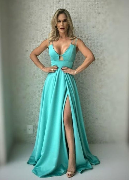 F0225 Simple Prom Dress with Slit