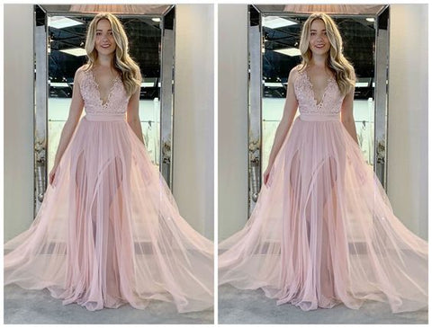 F0229 A-Line V-Neck Sweep Train Pink Tulle Prom Dresses With Appliques