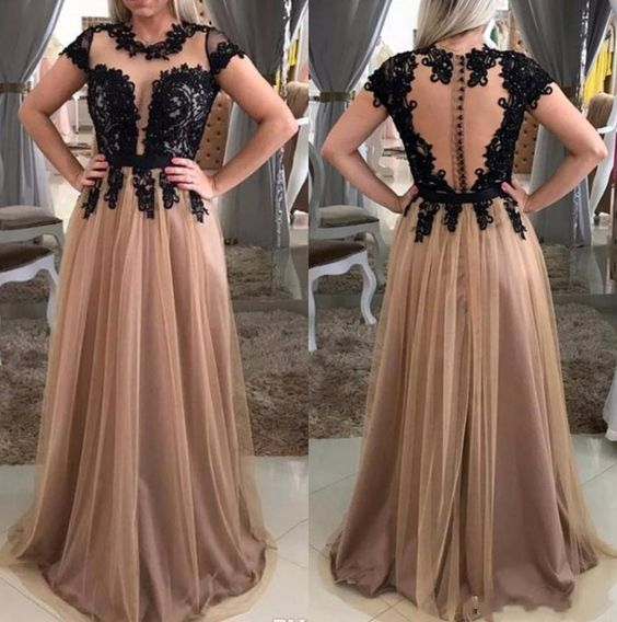 F0230 Black Brown Lace Tulle Evening Dresses Sheer Neck Appliques Floor Length Prom Dresses Illusion Back Elegant Evening Gowns