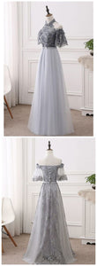 F0233 Short Sleeves Lace Tulle Floor Length Prom Dresses,Elegant Strapless Prom Dresses
