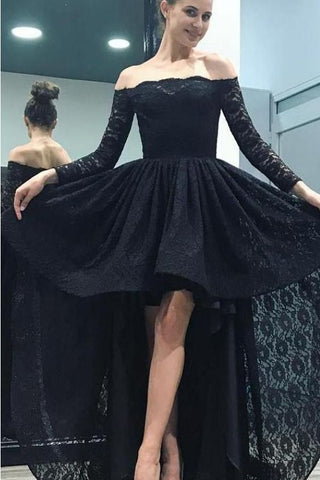 F0234 Charming Off Shoulder Long Sleeves Homecoming Dress,Black Lace High Low Prom Dress