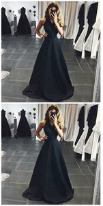 F0236 A-Line V-Neck Sleeveless Floor-Length Black Satin Prom Dress With Sash