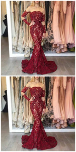 F0237 Mermaid Illusion Bateau Sweep Train Dark Red Lace Prom Dress