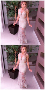 F0238 Mermaid Round Neck Floor-Length Ivory Tulle Prom Dress With Lace