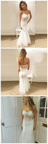 F0239 Mermaid Sweetheart Floor-Length White Tulle Prom Dress With Appliques