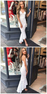 F0240 Mermaid Spaghetti Straps Sleeveless Asymmetry White Lace Prom Dress