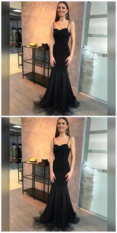F0241 Mermaid Spaghetti Straps Sweep Train Black Stretch Satin Prom Dress