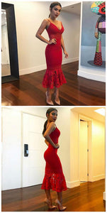 F0245 Mermaid Spaghetti Straps Tea-Length Red Stretch Satin Prom