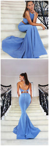 F0246 Mermaid Prom Dress,Halter Prom Dress,Sexy Prom Dresses,Long Prom Dress,Two Pieces Prom Dress,Backless Prom Dress,Blue Party Dresses