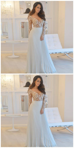 F0248 A-Line Scoop Long Sleeves Grey Chiffon Prom Dress