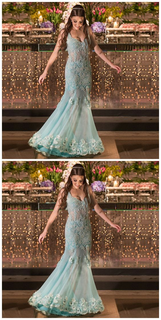 F0249 Mermaid Scoop Floor-Length Mint Tulle Prom Dress With Beading Appliques Lace