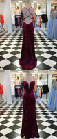 F0250 Mermaid Spaghetti Straps Sweep Train Burgundy Velvet Prom Dress