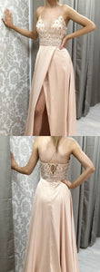 F0252 Straps V Neck Beads Long Prom Dress with Side Slit