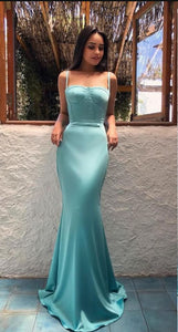 F0256 Mermaid Prom Dresses Spaghetti Straps Sleeveless Sweep Train Evening Formal Dress Elegant Evening Formal Dresses