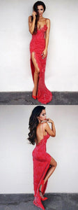 F0263 Sexy spaghetti red lace evening party dresses , chic backless split formal long party gowns