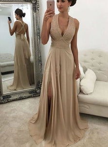 F0265 V Neck Champagne Prom Dresses Slit Prom Dress