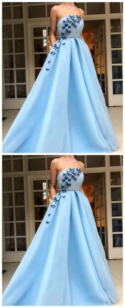 F0267 Long Evening Dress,Party Dress With Applique ,A Line Prom Dress